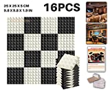 """Ace Punch 16 Pack BLACK AND PEARL WHITE Color Combiantion Pyramid Acoustic Foam Panel DIY Design Studio Soundproofing Wall Tiles Sound Insulation with Free Mounting Tabs 9.8"""" x 9.8"""" x 1.9"""" AP1034"""
