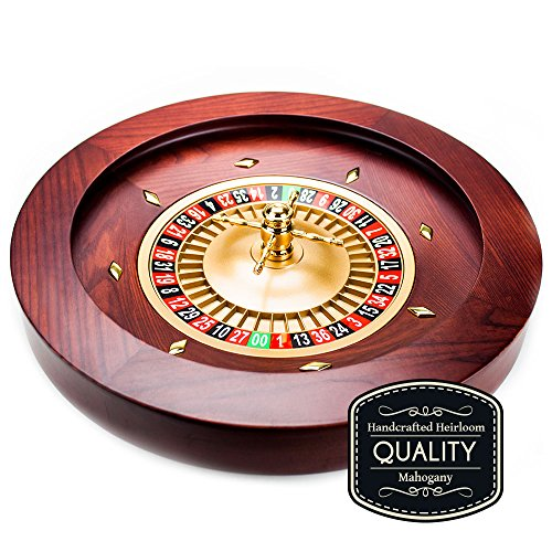 Casino Grade Deluxe Wooden Mahogany Roulette Wheel - 18 Inch Diameter! by Brybelly