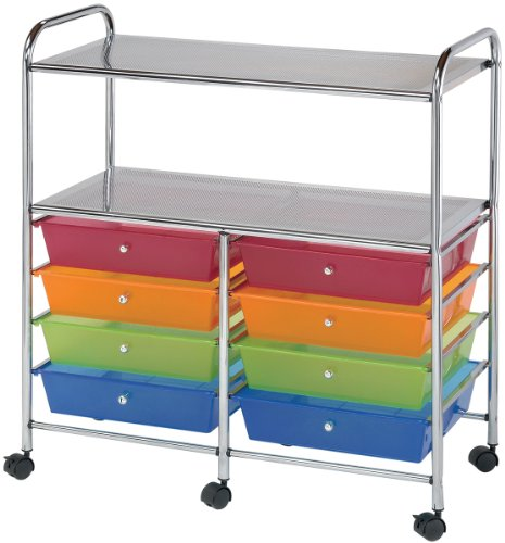 Blue Hills Studio SC8MCDW-12-S Storage Cart 8-Drawer (Wide) with 2-Shelf Multi-Colored ()