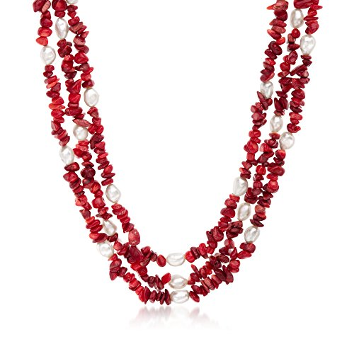 Ross-Simons 4-9mm Red Coral and 7-8mm Cultured Pearl Necklace With Sterling (White Pearl Red Coral Necklace)