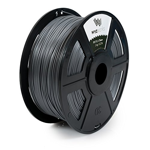 WYZworks PETG 1.75mm (SILVER) Premium 3D Printer Filament - Dimensional Accuracy +/- 0.05mm 1kg/2.2lb + [ Multiple Color Options Available ]