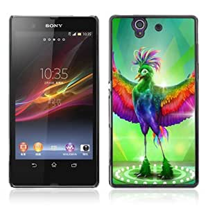 Designer Depo Hard Protection Case for Sony Xperia Z L36H / Fabulous Colorful Bird