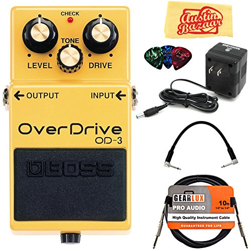Boss OD-3 OverDrive Bundle with Power Supply, Instrument Cable, Patch Cable, Picks, and Austin Bazaar Polishing Cloth