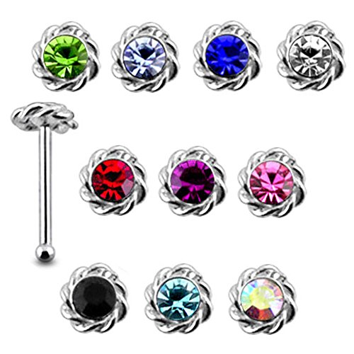 20 Pieces Mix Color Jeweled Twined Flower 925 Sterling Silver Nose Pin Ball End 20Gx1/4 (0.8x6MM). Pack in Acrylic Box. - 925 Sterling Silver Pin