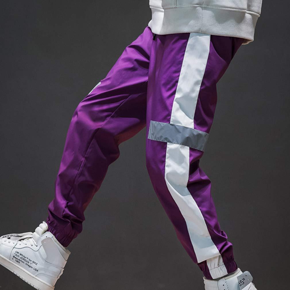 M-5Xl Uomo Pantaloni Casual Striscia Riflettente Pantaloni Sportivi Moda Lato Striscia Colore Splicing Pantaloni Hip Hop Sciolto Pantaloni Lunghi Pantaloni del Piede Pantaloni della Tuta