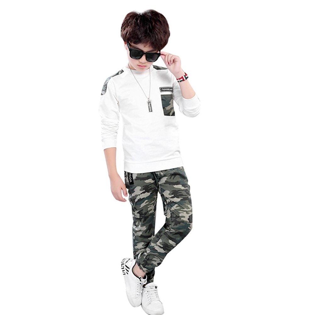 2 Pcs Big Boys Long Sleeve fashionable Camouflage Tops Pants Clothing Set .Ltd