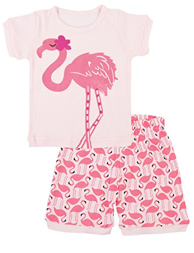Little Girls Flamingos Pajamas Sets Toddler Short Sleeve Leggings Outfits 2 Piece For Kids 2-7 (Toddler Set)