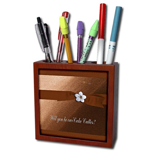 ph_43422_1 Beverly Turner Wedding Attendant and Bridal Party Design - Cake Cutter, Autumn Ribbon with Flower on Peach - Tile Pen Holders-5 inch tile pen holder
