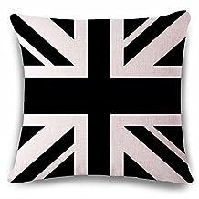 Black White Union Jack Printed Cotton Linen Decorative Throw Pillow Case Sofa Home Decor Cushion Cover