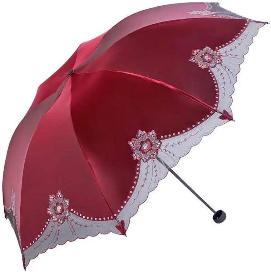 Color : Style A YSSUU UV Protection Sunscreen Umbrella Sun Umbrella Umbrella Black Plastic Folding Umbrella Female Embroidery Umbrella Umbrella