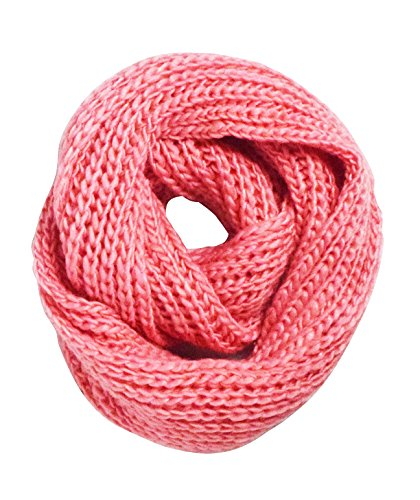 Peach Couture Thick and Chunky Extremely Warm Hand Knit Infinity Loop Scarf (Rose Pink)