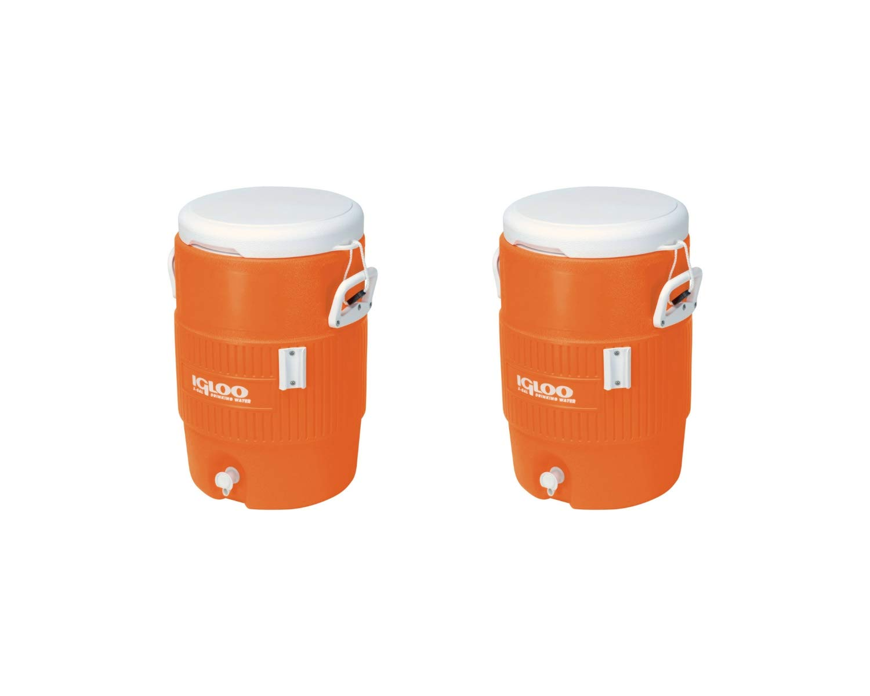 Igloo 5-Gallon Heavy-Duty Beverage Cooler, Orange & Ultimate Drip Catcher Set (2 Set, 14.5'' x 13'' x 19.5'', Orange) by Igloo (Image #1)