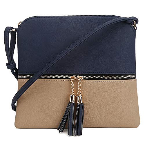 SG SUGU Lightweight Medium Crossbody Bag with Tassel and Zipper Pocket (Navy/Taupe)