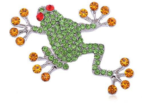 Alilang Synthetic Peridot Crystal Rhinestone Synthetic Ruby Eyed Frog Fashion Jewelry Brooch Pin