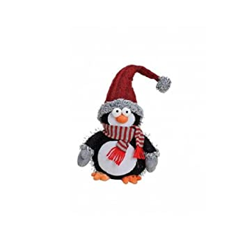 Exner Pingüino - Deko - Figura Decorativa de Peluche Textil Aprox. 20 x 13 x 43 cm, Rojo: Amazon.es: Hogar