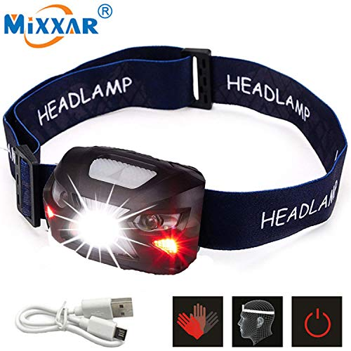 MiXXAR LED Headlamp USB Rechargeable Ultra Bright 500 LM 8 Modes Sensor Hands-free Waterproof with Red Lights, Best Headlamp for Indoor Outdoor Many Lighting Use