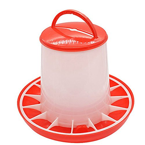 Fan-Ling 1.5kg Capacity Food Distributor,Plastic Food Feeder Chicken Chick Hen Poultry Lid Handle,Versatile, can Hang with Included Hanger or sit on The Ground (Gold Flakes Bottle)