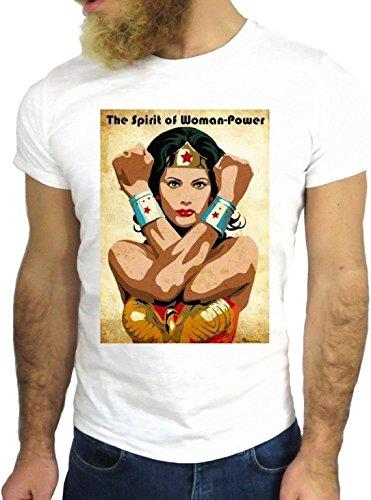 T SHIRT JODE Z1614 THE SPIRIT OF WOMAN POWER WONDER HERO FUN COOL FASHION GGG24 BIANCA - WHITE M