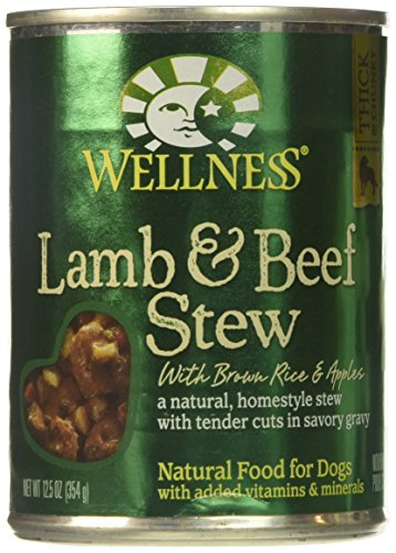 Wellness Thick & Chunky Natural Wet Canned Dog Food, Lamb & Beef Stew, 12.5-Ounce Can (Pack of 12)
