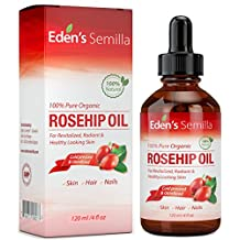 100% Pure Rosehip Oil - 120ml - Certified ORGANIC - Cold pressed & unrefined - NON Greasy HIGH absorbency - Use daily - Anti ageing, nourishes, hydrates and visibly reduces fine lines, scars, stretch marks and skin pigmentations - Suitable for all skin types - Eden's Semilla Essential Skin Care. DROPPER DISPENSER - NEW PRODUCT LAUNCH