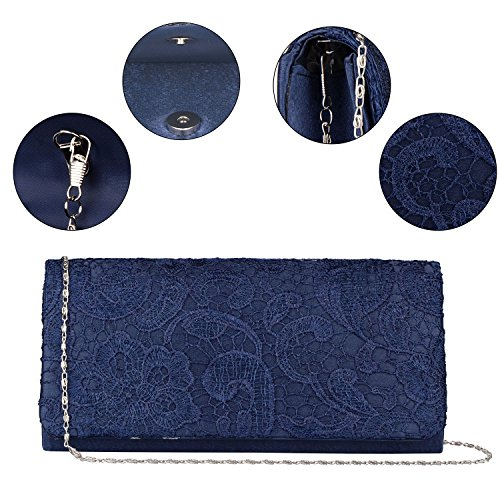 bag Purse Chain Bag Floral Clutch Wedding Evening Chain Handbag handbag Girl's Blue Baglamor wxIvPqFYF