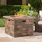 stone fire pit GDF Studio Stonecrest Patio Furniture ~ Outdoor Propane (Gas) Fire Pit 40,000BTU (Table)(Natural Stone/Square)