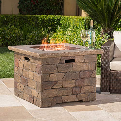 GDF Studio Stonecrest Outdoor Square Stone Fire Pit Table, 34