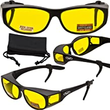 Escort Advanced System Safety Glasses Fits Over Most Prescription Eyewear - FREE Rubber EAR LOCKS and Microfiber Pouch! -GLOSS Black Frame