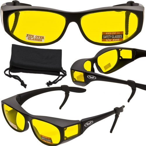 Escort Advanced System Safety Glasses Fits Over Most Prescription Eyewear - FREE Rubber EAR LOCKS and Microfiber Pouch! -GLOSS Black - Eyewear Free