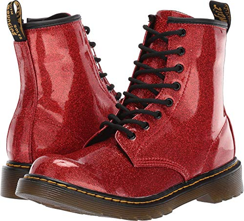 Dr. Martens Kid's Collection Girl's 1460 Glitter Stars Delaney Boot (Big Kid) Red Glitter Stars Pu 4 M UK -