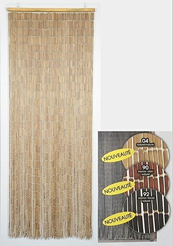 EVIDECO 55013 Wooden Sticks Beaded Curtain Doorway 65 Strings Natural 78.8'' H x 35.5'' W