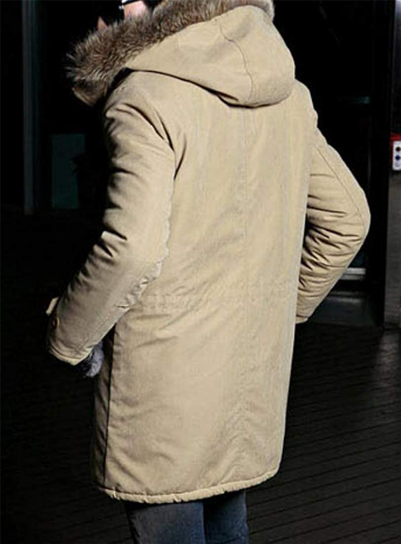 JSY Mens Outerwear Autumn Winter Thick Fleece Faux Fur Hooded Parka Jacket