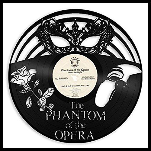 VinylShopUS Phantom of Opera Vinyl Wall Art Framed Record Venetian Masquerade Mask | Broadway Musical Gift | Decoration Living Room Bedroom Decor - Venetian Wall Art