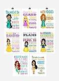 Princess Set of 8 - Christian Nursery Decor Wall Art Print - Mulan, Belle, Snow White and Merida - Bible Verse - Multiple Sizes