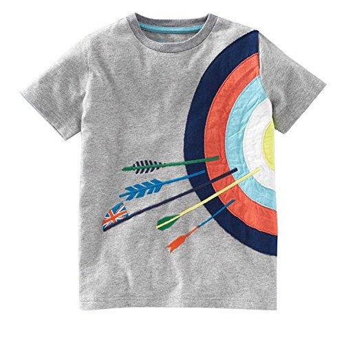 iYBUIA Simple Design Toddler Kids Baby Boys Girls O-Neck Clothes Short Sleeve Cartoon Tops T-Shirt Blous(Gray,140) -