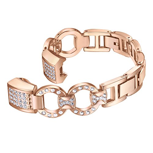 bayite Metal Bands Compatible Fitbit Alta and Alta HR, Set with Rhinestone, Rose Gold