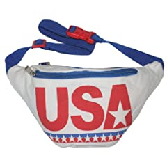 Specially designed for those Americans that bleed red, white and badass, this patriotic gem would bring tears to George Washington's eyes. The USA Fanny Pack features two pockets and a durable canvas exterior and nylon interior.
