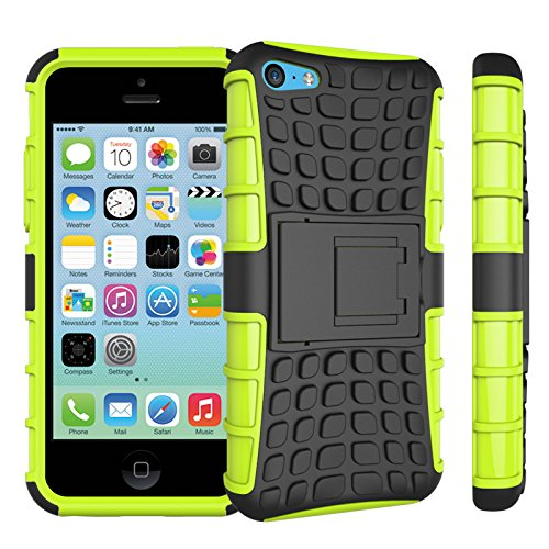 iPhone 5C Funda,COOLKE Duro resistente Choque Heavy Duty Case Hybrid Outdoor Cover case Bumper protección Funda Para Apple iPhone 5C - Rojo verde