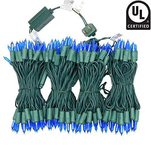 YULETIME UL Certified Blue LED Christmas String Lights, 66 Ft 200 LED Commercial Grade Stay Lit Christmas Light Set, Connectable Home Decor Lights for Patio Garden Wedding Holiday Halloween (Blue) -