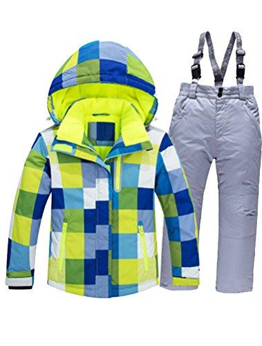 Mallimoda Boy's Girl's Winter Colorblock Ski Jacket 2-Piece Snowsuit Blue 3 Size 7
