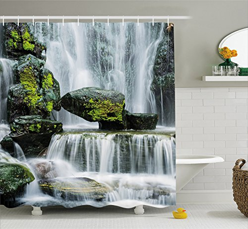 Waterfall Decor Shower Curtain by Ambesonne, Majestic Waterfall Blocked with Massive Rocks with Moss on Them, Fabric Bathroom Decor Set with Hooks, 84 Inches Extra Long, Green Black and White