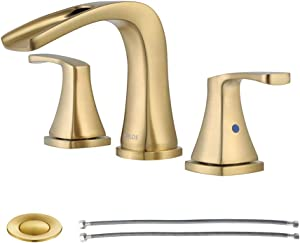 PARLOS Waterfall Widespread Bathroom Sink Faucet 2 Handles with Metal Pop Up Drain & cUPC Faucet Supply Lines, Brushed Gold, Doris 1407008