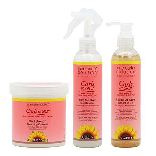 Jane Carter Curls to Go Curl Drench Cleansing Co Wash 16oz & Mist Me Over Curl Hydrator 8oz & Coiling All Curls Elongating Gel 8oz