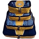 Evatex Luxury Packing Cubes, 4 Pcs Set (Gold), with Laundry, Shoe Bag