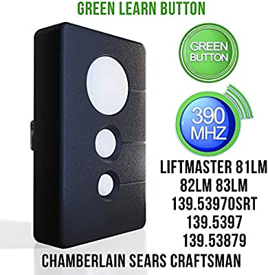 Replacement For Sears Craftsman Garage Door Opener Remote Transmitter K1026 Hbw1136 139 53970srt 139 5397 139 53879 Chamberlain Liftmaster Compatible Program 390 Mhz Green Learn 3 Button Amazon Com