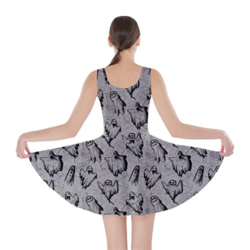 Cowcow Womens Gris Robe Patineuse De Conception Fantôme De Halloween
