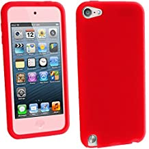 iGadgitz Red Silicone Skin Case Cover for Apple iPod Touch 6th Generation (July 2015 onwards) & 5th Generation (2012-2015) + Screen Protector