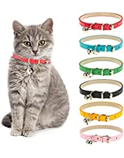 Chenkaiyang Cat Collars Leather with Removable Bell Polished Durable Metal Buckle Soft and Adjustable for Cats Puppy Small Medium Dogs (6 Pack)