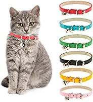 Chenkaiyang Cat Collars Leather with Removable Bell Polished Durable Metal Buckle Soft and Adjustable for Cats