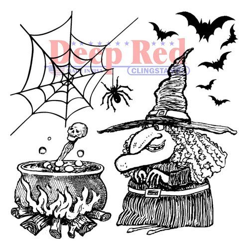 Deep Red Witches Brew Rubber Cling Stamp